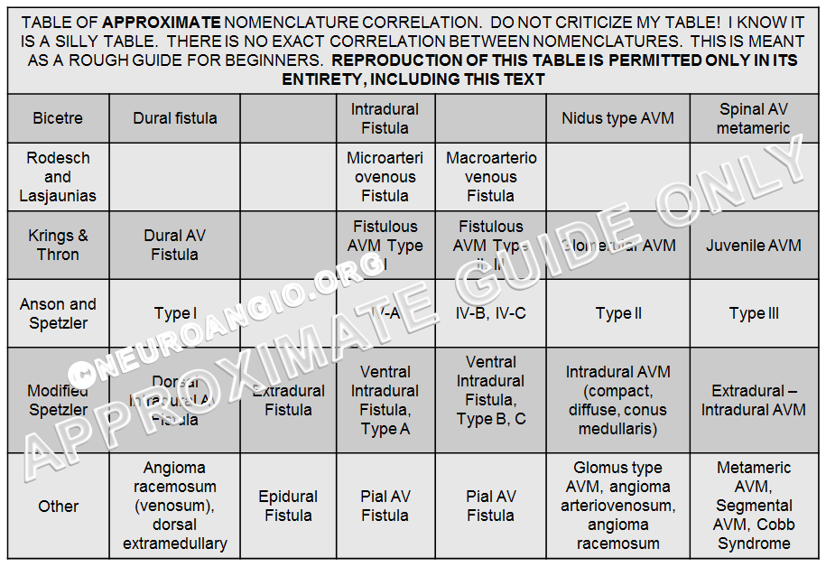 spinal vascular lesions classification table
